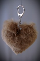 LUXURY real fur hearts pendant leather + rabbit fur NEW