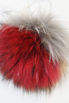 Combined fox fur bobble Finnraccon * Carnival * Colorful