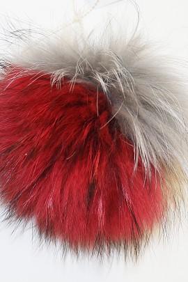 Combined fox fur bobble Finnraccon * Carnival * Colorful