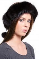 Mink Fur Headband Black