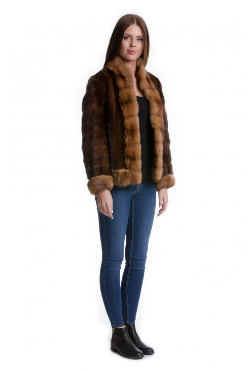 rotfuchs jacke natur farbton braun fox jacket luxus pelz 40 42 furs ebay. Black Bedroom Furniture Sets. Home Design Ideas