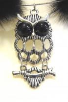 Fur Collar Mink tail black with decorative owl