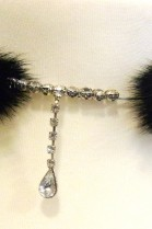 Fur mink tails necklace Rhinestone Decoration