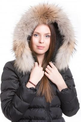 Fur hood beige golden brown tone genuine fur hood