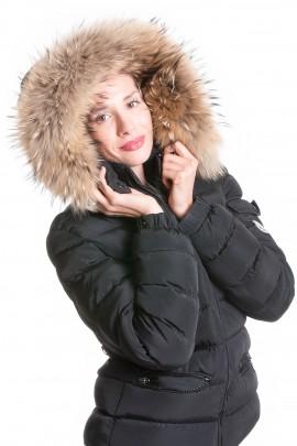 Hooded coat fur hood stripes Premium Golden Nude XXL