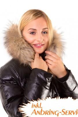 Fur collar fur collar fur hood light brown Size: L