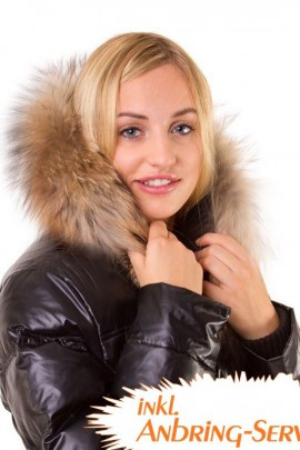 Fur collar Size: L dark brown fur collar fur hood