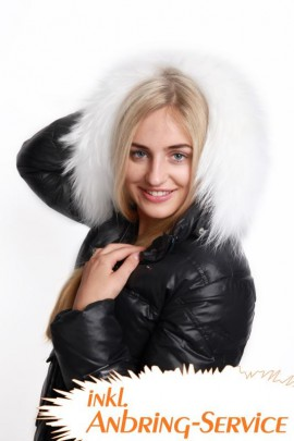 Premium White Snow Size: L fur hood including attaching Service.