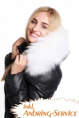 Premium White Snow Size: XXL Kapuzenfell Anbring Service