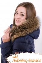 Let fur collar Premium Raccoon brown incl. Attachment