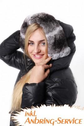 Kapuzenfell Size: XXL Chinchilla Rex Rabbit Style Grey White
