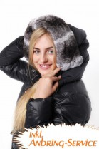 Hood Fur Size: XXL Chinchilla Rex Rabbit Style Grey White