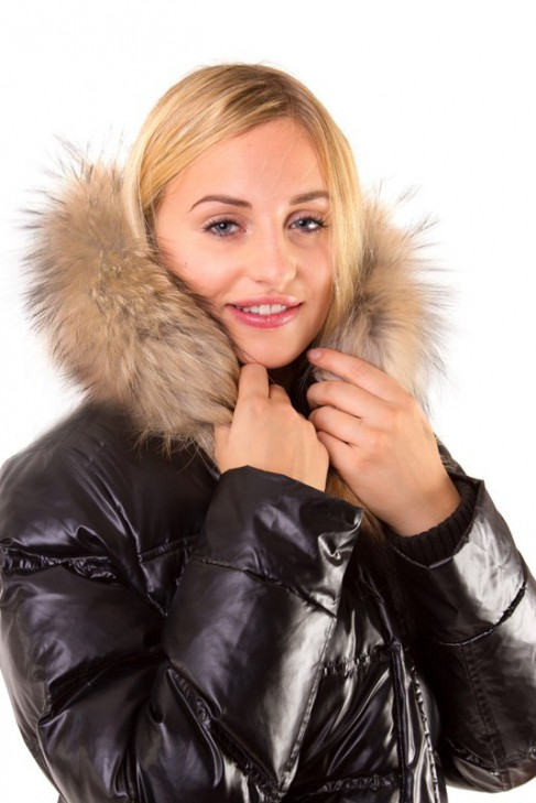 Fellkragen Size:L hellbraun nach Maß Fellstreifen Pelz