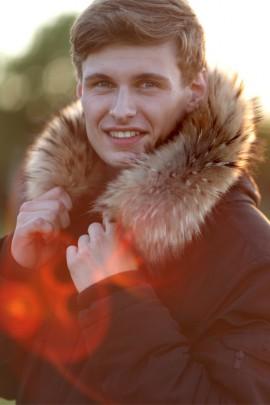 Fur Hoodie Size: XL light brown-to-measure fur hooded collar