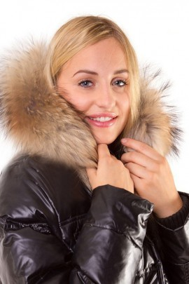 Fur Hoodie Size: XL made to measure dark brown fur hood