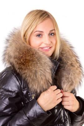 Hooded stripe Size: XXL made to measure dark brown fur hood