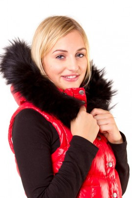 Fur Hoodie Size: L to measure Blacknight black fur stripes