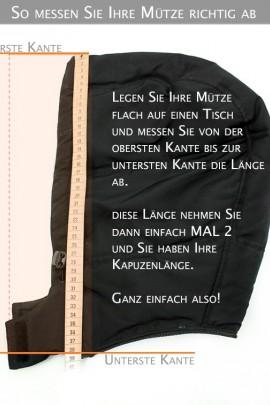 Black Night Size: XL nach Maß Kapuzenfell schwarz Fellstreif