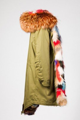 Urban Winter Parka Kapuzenpelz Orange Fuchs Innenfutter bunt
