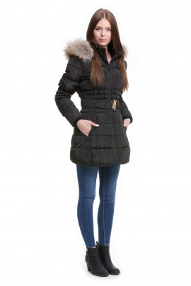 Winter jacket with fur trimmed hood stripes Finnraccoon