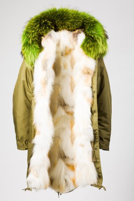 Urban Winter Parka Golden Island Fuchs mit Fellkapuze grün