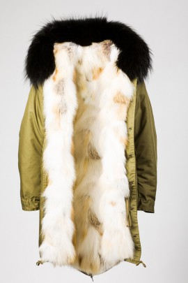Winter Parka Golden Island Fuchs Kapuze Finnraccoon schwarz