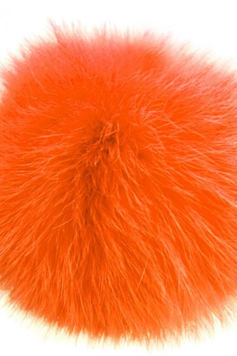 Kanin Fellbommel Orange der Edle echt Pelz Bommel