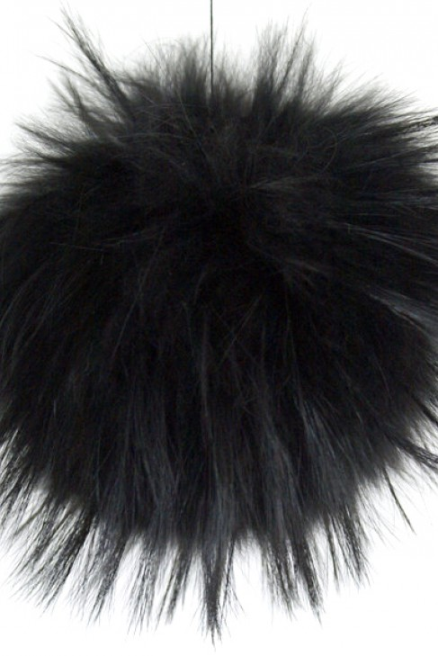 Premium Fellbommel schwarz aus Finnraccoon echt Pelz Bommel