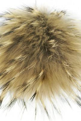 Premium fur Bommel light brown genuine fur Bommel Nature