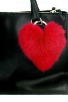 Kanin Fell Herz Premium Anhänger aus Pelz rot