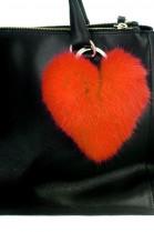 Kanin Fell Herz Premium Anhänger aus Pelz orange