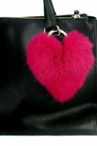 Kanin Fell Herz Premium Anhänger aus Pelz pink