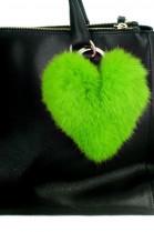 Kanin Fell Herz Premium Anhänger aus Pelz grün