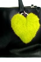 Kanin fur Heart Premium Pendant in yellow fur