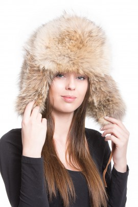Madam fur Coyote fur hat unisex