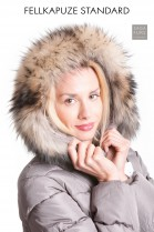 Fellkapuze Fur Hoodie Fell Style Parka Pelz Streifen Premium