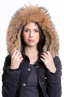 Premium Gold Medium Fur Hood Fur Hoodie Style Fashion