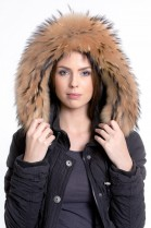 Premium Gold Medium Fur Hood Fur Hoodie Style Fashion