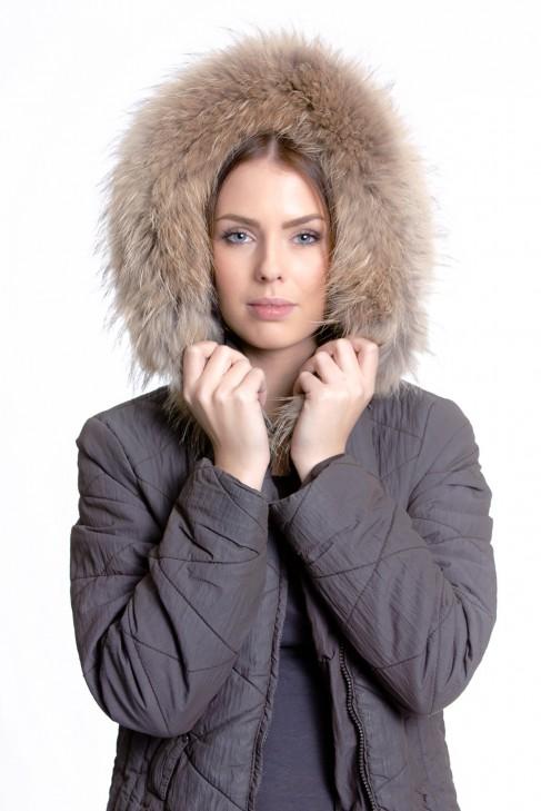 Fell Kapuze Premium Gold Light Fur Hoodie brown Pelz Fashion