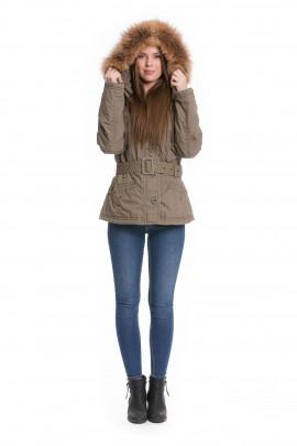 Fellkapuze Parka Style Kragen Pelzstreifen Fashion Mode XXL