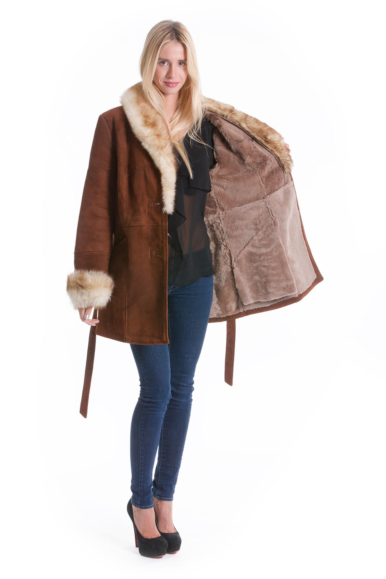 Buy Sheepskin Leather Fashion Style Jacket Fur Collar