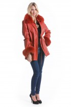 Leder Jacke rot mit Fuchs Fell Style Fashion Pelz Mode Luxus