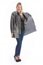 Lammfell Jacke Persianer grau Fell Style Pelz Design Luxus