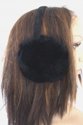 Pelz Fell  Ohrenschützer Kanin schwarz geschoren