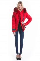 Fabric jacket with red fox fur hood fur collar fur XXXL