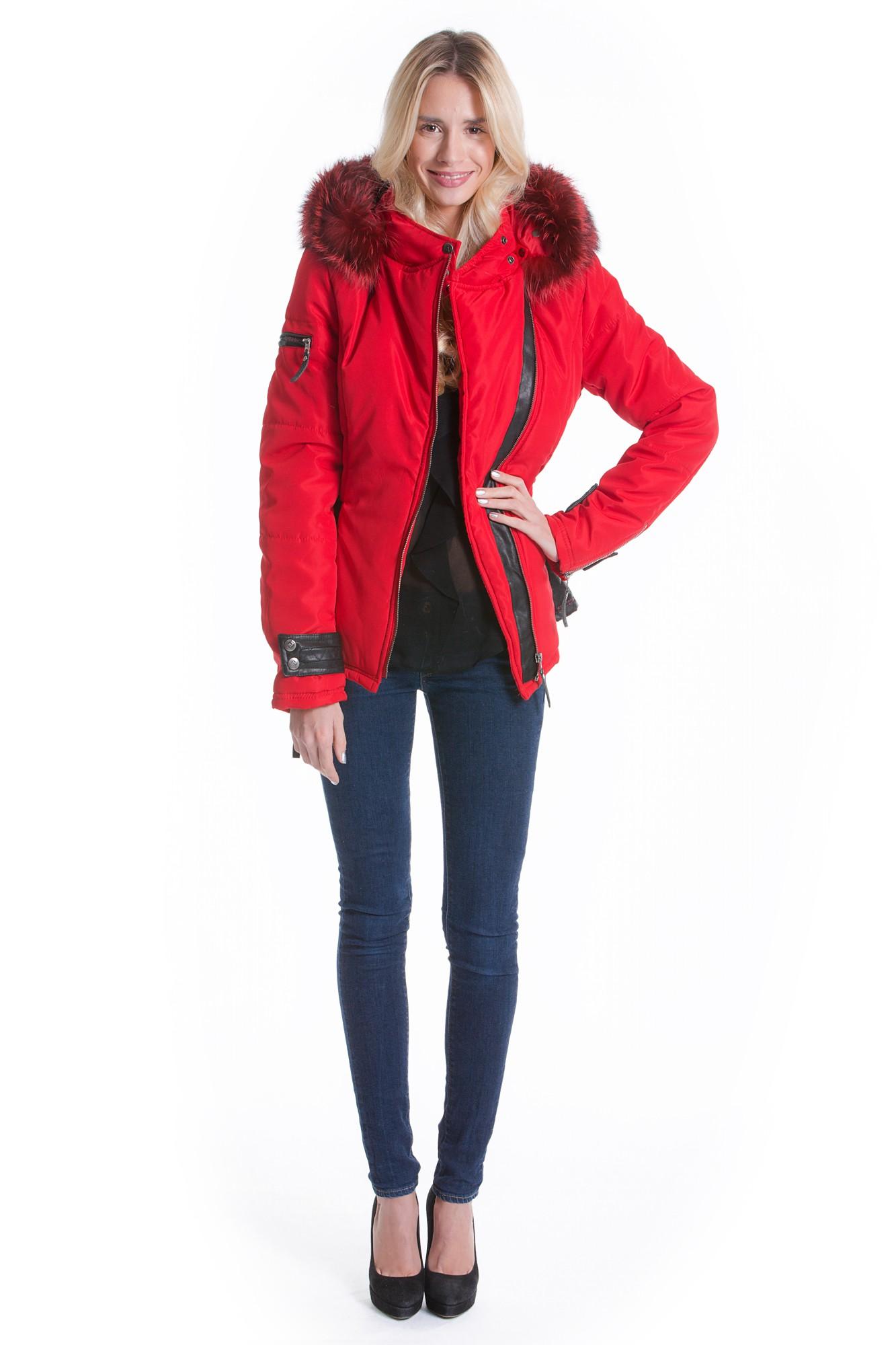 rote jacke mit pelzkapuze damen
