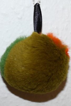 Nerz gerupft Pelzbommel-  Tricolor Moosgrün Orange Grün
