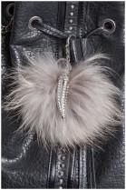 Sabertooth design silver color fox fur pompom pendant