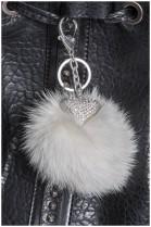 Heart Design Silver Tone Fox Bommel white fur fashion pendant