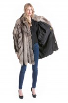Silver fox jacket with leather gray fur Fashion Fur Design
